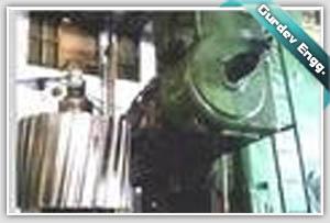 GEAR PINION BEING MACHINED AT HOBBING MACHINE AT GURDEV ENGINEERS MACHINE SHOP